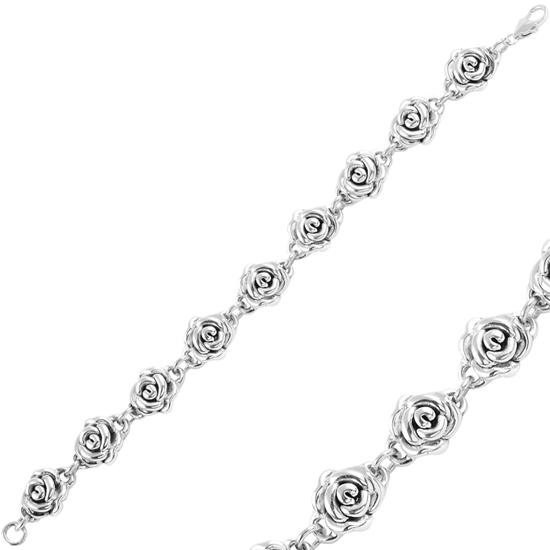 Ürün resmi: Oksitli Gül Taşsız Gümüş Bayan Bileklik