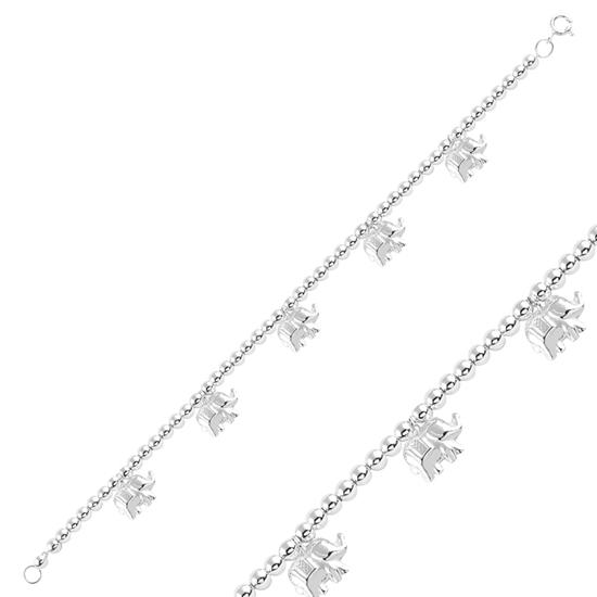 Ürün resmi: Sallantılı Fil Taşsız Gümüş Bayan Bileklik