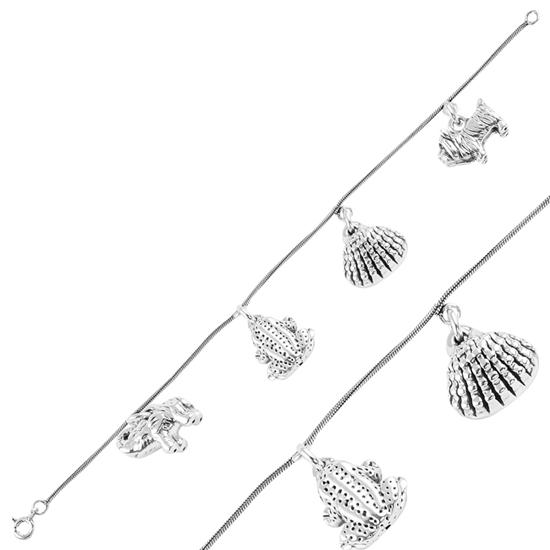 Ürün resmi: Sallantılı Fil, Kurbağa, Midye Kabuğu & Köpek Taşsız Gümüş Bayan Bileklik