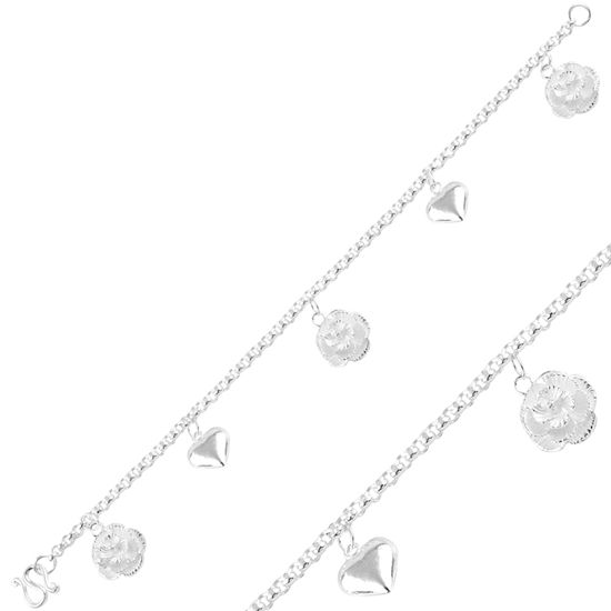 Ürün resmi: Sallantılı Çiçek & Kalp Taşsız Gümüş Bayan Bileklik
