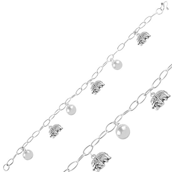 Ürün resmi: Sallantılı Fil & Zilli Top Taşsız Gümüş Bayan Bileklik