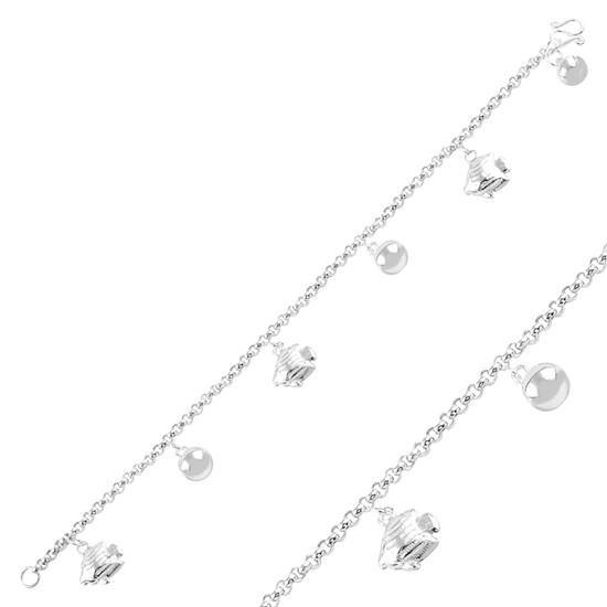 Ürün resmi: Sallantılı Balık & Zilli Top Taşsız Gümüş Bayan Bileklik