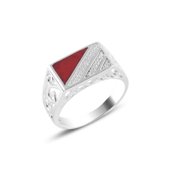 Ürün resmi: Üçgen Kırmızı Mineli Gümüş Erkek Yüzük