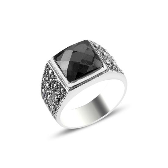 Ürün resmi: Siyah Zirkon Taşlı Gümüş Erkek Yüzük