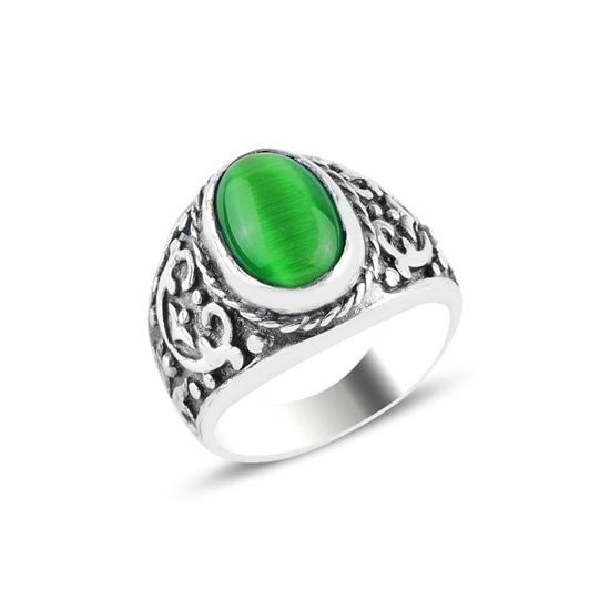Ürün resmi: Yeşil Kedigözü Taşlı Gümüş Erkek Yüzük