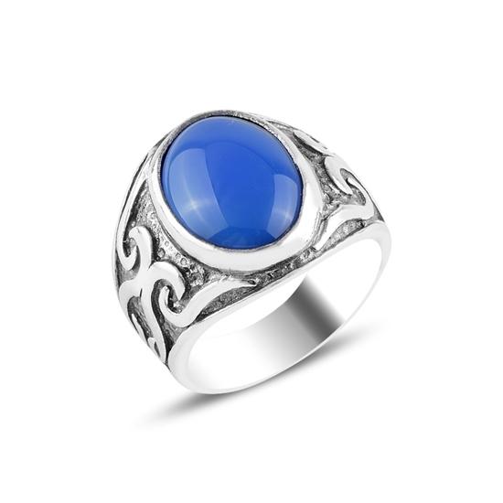 Ürün resmi: Mavi Akik Taşlı Gümüş Erkek Yüzük
