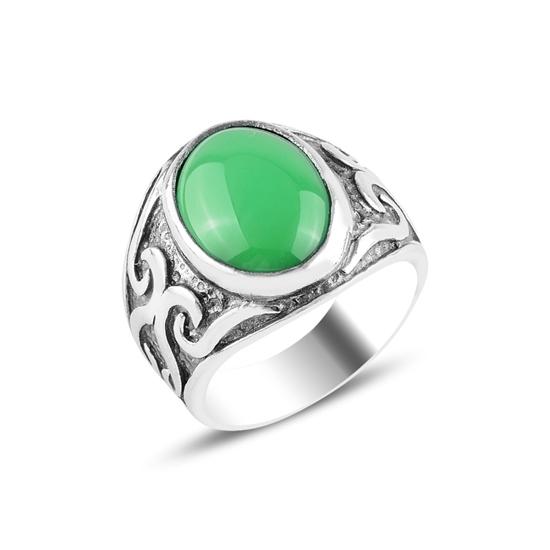 Ürün resmi: Yeşil Akik Taşlı Gümüş Erkek Yüzük