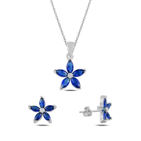 Ürün resmi: Rodyum Kaplama Safir Zirkon (Lacivert) Çiçek Mekik Zirkon Taşlı Gümüş Bayan Set