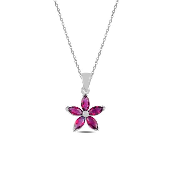 Ürün resmi: Rodyum Kaplama Yakut Zirkon (Kırmızı) Çiçek Mekik Zirkon Taşlı Gümüş Bayan Kolye