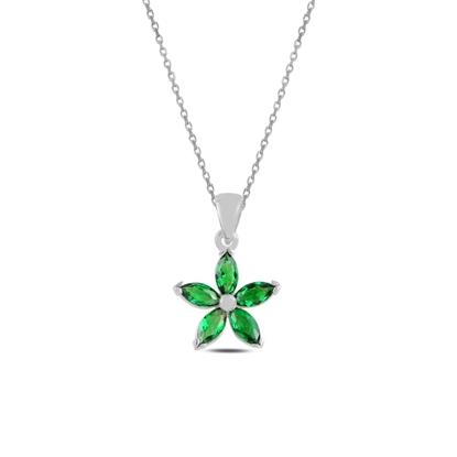 Resim Rodyum Kaplama Zümrüt Zirkon (Yeşil) Çiçek Mekik Zirkon Taşlı Gümüş Bayan Kolye
