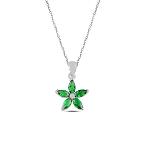 Ürün resmi: Rodyum Kaplama Zümrüt Zirkon (Yeşil) Çiçek Mekik Zirkon Taşlı Gümüş Bayan Kolye