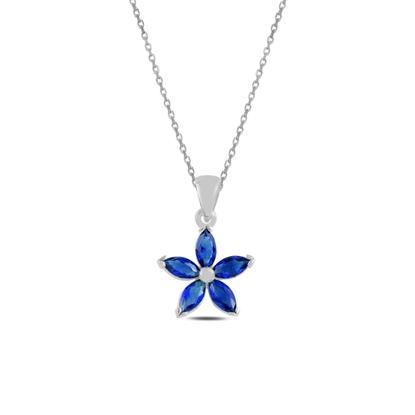 Resim Rodyum Kaplama Safir Zirkon (Lacivert) Çiçek Mekik Zirkon Taşlı Gümüş Bayan Kolye