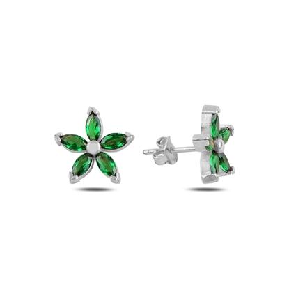 Resim Rodyum Kaplama Zümrüt Zirkon (Yeşil) Çiçek Mekik Zirkon Taşlı Gümüş Küpe