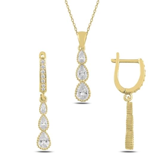 Ürün resmi: Altın Kaplama Damla Zirkon Taşlı Gümüş Bayan Set