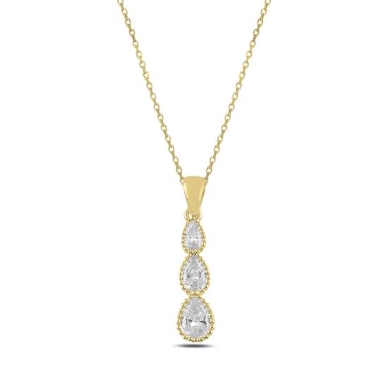 Ürün resmi: Altın Kaplama Damla Zirkon Taşlı Gümüş Bayan Kolye