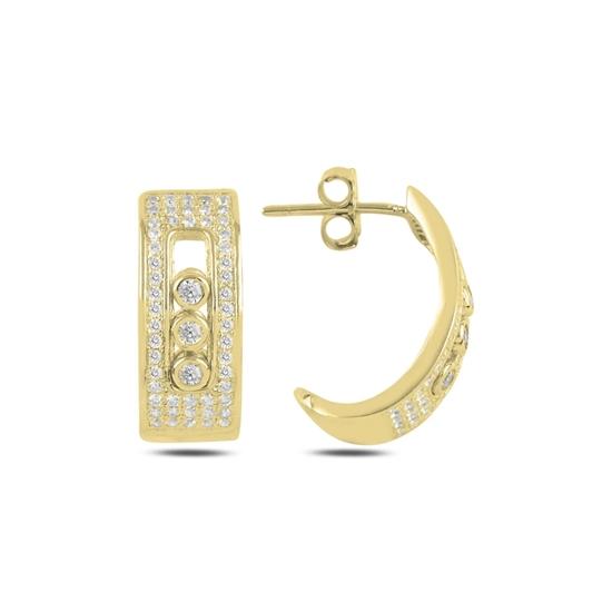 Ürün resmi: Altın Kaplama Zirkon Taşlı Gümüş Küpe