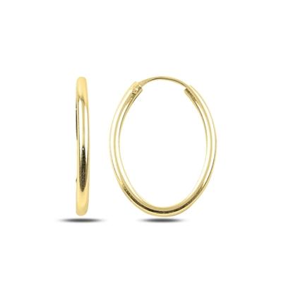 Resim Altın Kaplama 15x25mm Oval Halka Gümüş Küpe