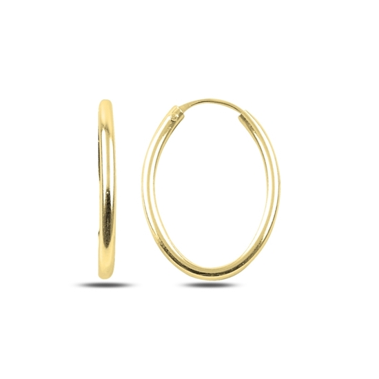Ürün resmi: Altın Kaplama 15x25mm Oval Halka Gümüş Küpe
