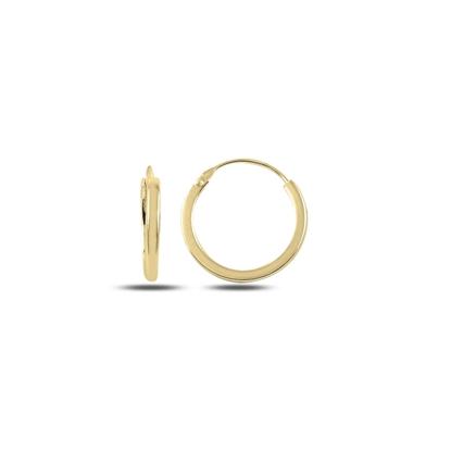 Resim Altın Kaplama 14mm Sade Halka Gümüş Küpe