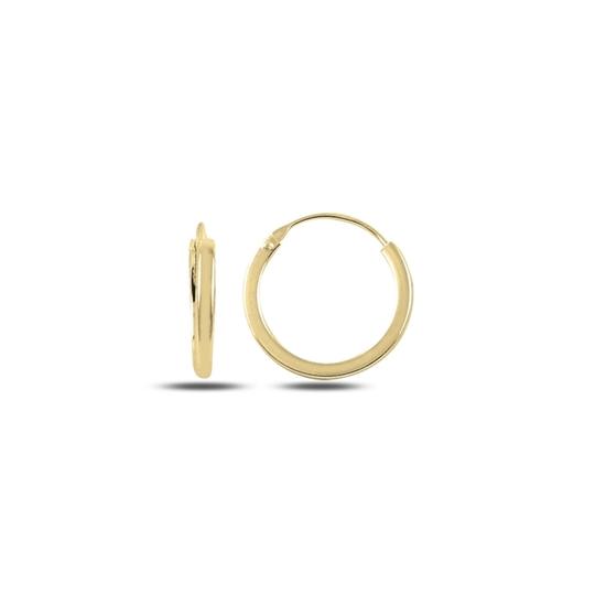 Ürün resmi: Altın Kaplama 14mm Sade Halka Gümüş Küpe