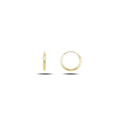 Resim Altın Kaplama 8mm Sade Halka Gümüş Küpe
