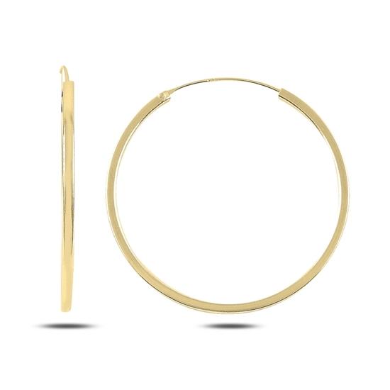 Ürün resmi: Altın Kaplama 40mm Sade Halka Gümüş Küpe