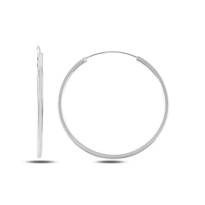 Resim 40mm Sade Halka Gümüş Küpe