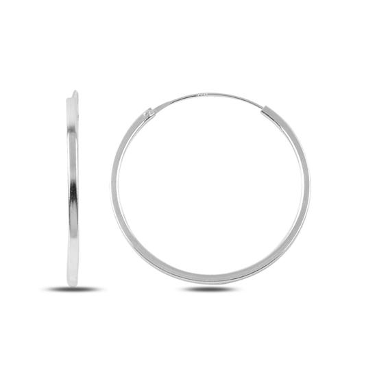 Ürün resmi: 30mm Sade Halka Gümüş Küpe