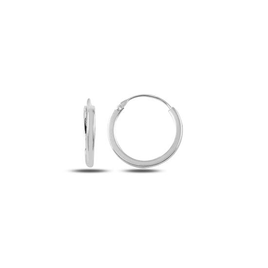 Ürün resmi: 14mm Sade Halka Gümüş Küpe