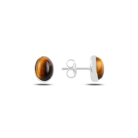 Ürün resmi: Oval Kaplan Gözü Taşlı Gümüş Küpe