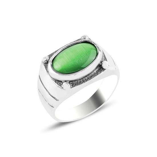 Ürün resmi: Oval Yeşil Kedigözü Taşlı Oksitli Gümüş Erkek Yüzük