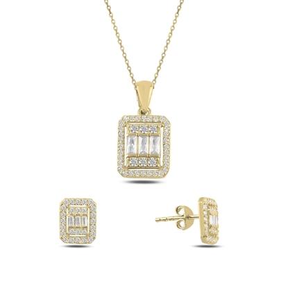 Resim Altın Kaplama Baget Zirkon Taşlı Gümüş Bayan Set