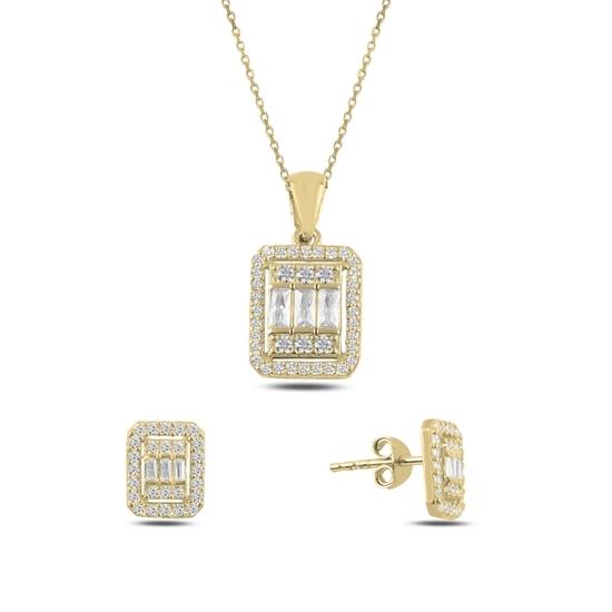 Ürün resmi: Altın Kaplama Baget Zirkon Taşlı Gümüş Bayan Set