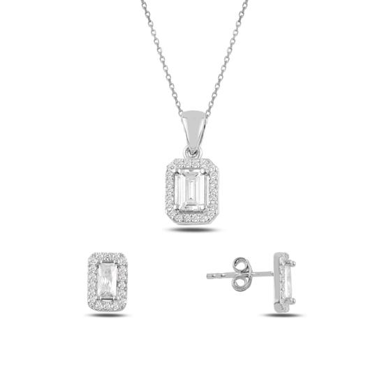 Ürün resmi: Rodyum Kaplama Baget Zirkon Taşlı Gümüş Bayan Set