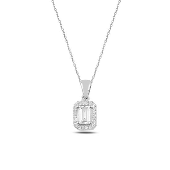 Ürün resmi: Rodyum Kaplama Baget Zirkon Taşlı Gümüş Bayan Kolye