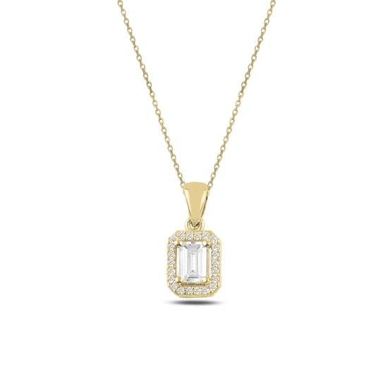 Ürün resmi: Altın Kaplama Baget Zirkon Taşlı Gümüş Bayan Kolye
