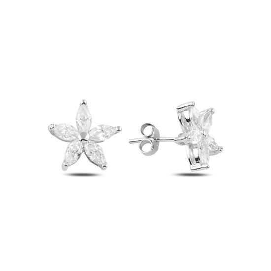 Ürün resmi: Rodyum Kaplama Çiçek Zirkon Taşlı Gümüş Küpe