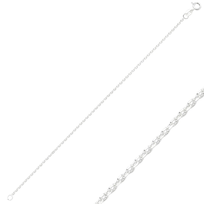 Resim 60 Mikron Tıraşlı Forse Gümüş Bayan Zincir Bileklik