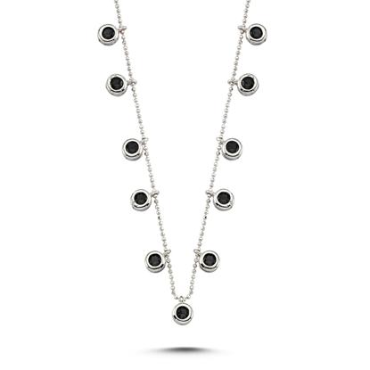 Resim Rodyum Kaplama Siyah Zirkon Taşlı Sallantılı Gümüş Bayan Kolye