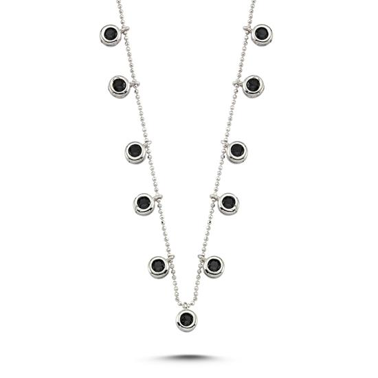 Ürün resmi: Rodyum Kaplama Siyah Zirkon Taşlı Sallantılı Gümüş Bayan Kolye