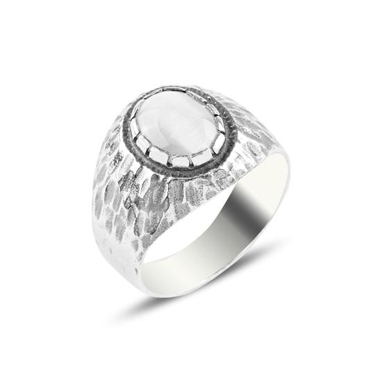 Ürün resmi: Beyaz Kedigözü Taşlı Gümüş Erkek Yüzük
