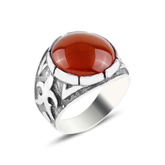 Ürün resmi: Kırmızı Akik Taşlı Gümüş Erkek Yüzük