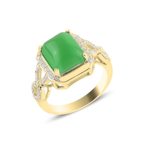 Ürün resmi: Altın Kaplama Yeşil Kedigözü Zirkon Tektaş Gümüş Bayan Yüzük