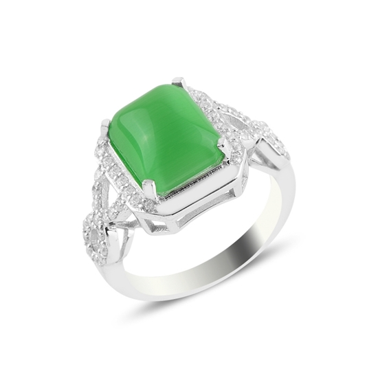 Ürün resmi: Rodyum Kaplama Yeşil Kedigözü Zirkon Tektaş Gümüş Bayan Yüzük