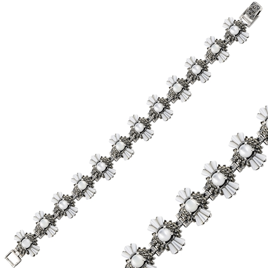 Ürün resmi: Markazit & Sedefli Gümüş Bayan Bileklik