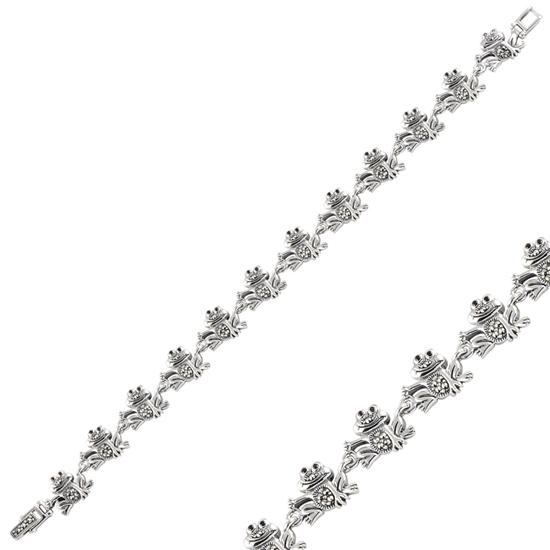 Ürün resmi: Kurbağa Markazit & Zirkon Taşlı Gümüş Bayan Bileklik
