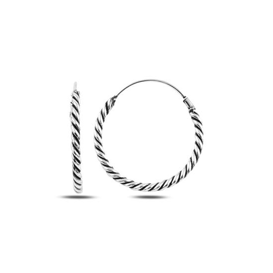 Ürün resmi: 25mm Oksitli Halka Gümüş Küpe