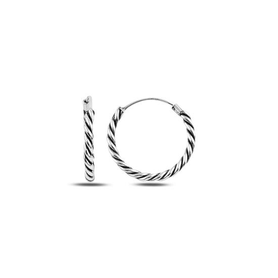 Ürün resmi: 20mm Oksitli Halka Gümüş Küpe