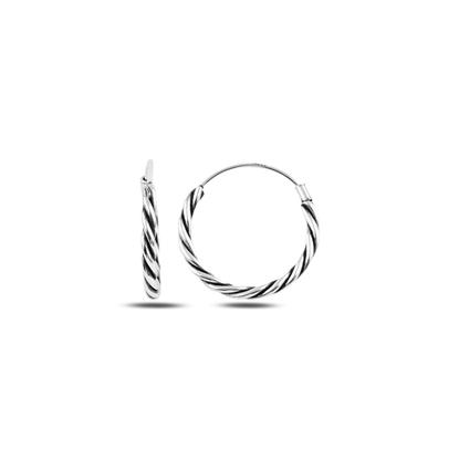 Resim 18mm Oksitli Halka Gümüş Küpe