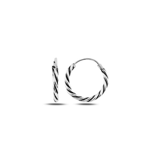 Ürün resmi: 16mm Oksitli Halka Gümüş Küpe